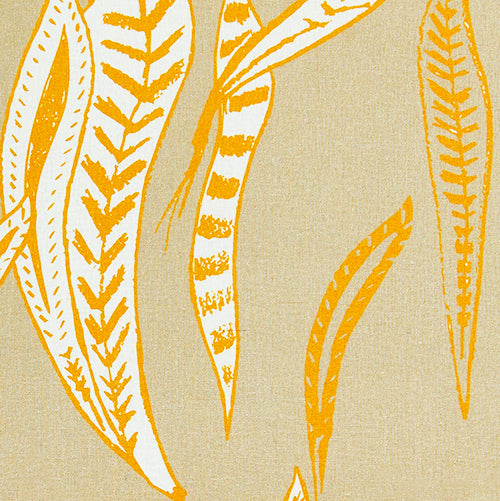 Kelp pattern earth and maize yellow home decor interior fabric for curtains, blinds, upholstery ships from Canada to USA by the yard or by the meter