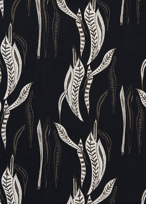 Kelp seaweed home decor interiors fabric by the meter in black & Grey, ships from Canada worldwide including the USA perfect for curtains, blinds & Upholstery