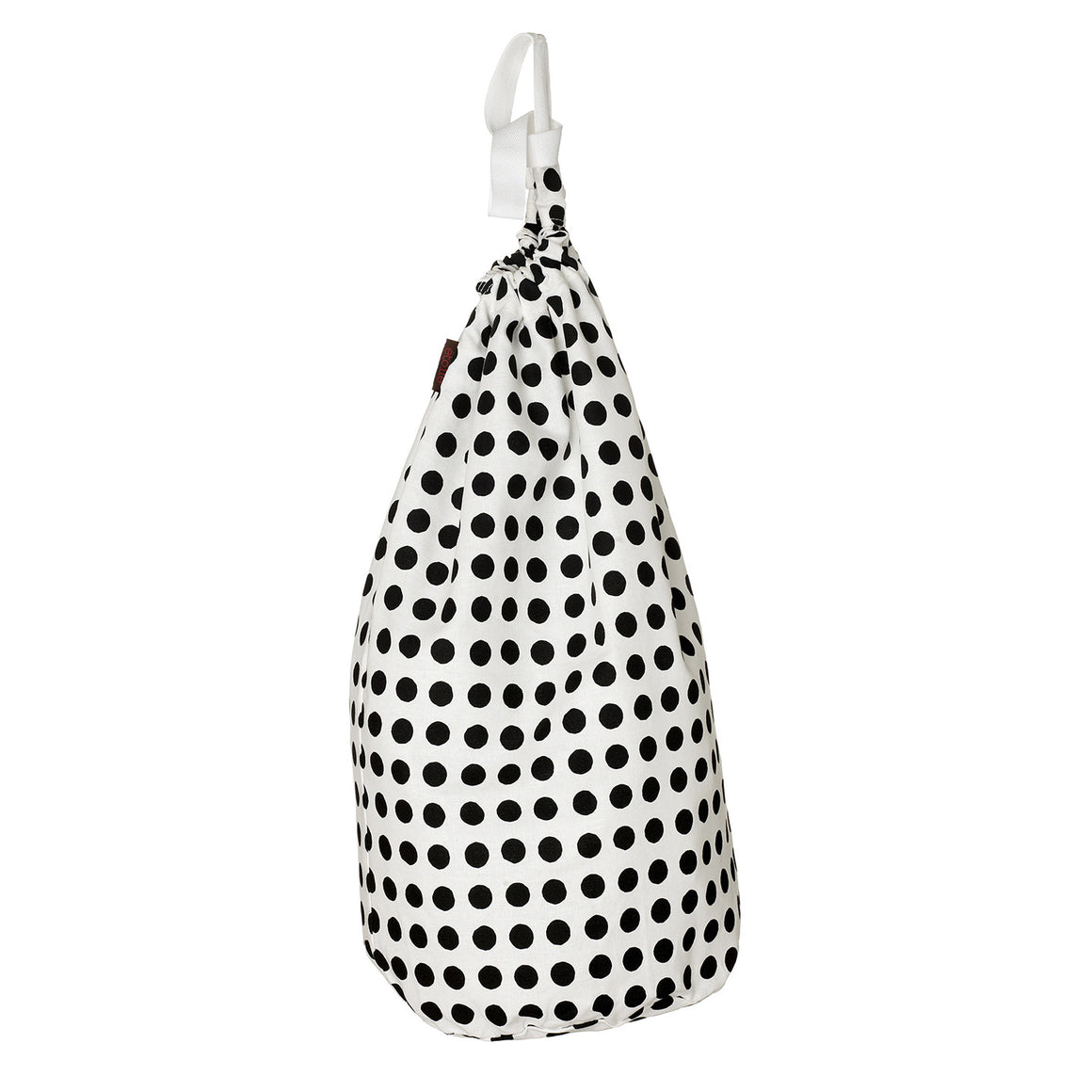 London Polka Dot Spotty Cotton Linen Drawstring Laundry or Storage Bag - Black - Ships from Canada (USA)