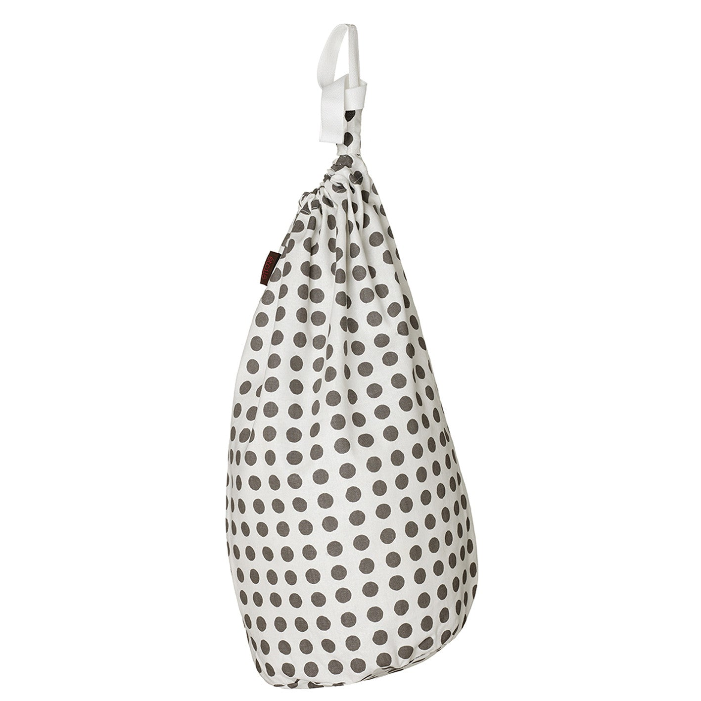 London Polka Dot Spotty Pattern Linen Cotton Drawstring Laundry & Storage Bag in Stone Grey ships from Canada (USA)