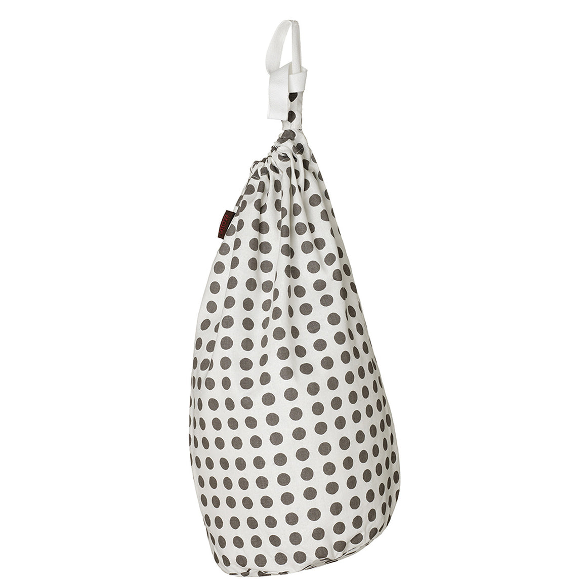 London Polka Dot Pattern Linen Cotton Laundry Bag in Stone Grey