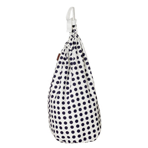 London Polka Dot Cotton Linen Drawstring Laundry & Storage Bag in Dark Aubergine Purple ships from Canada (USA)