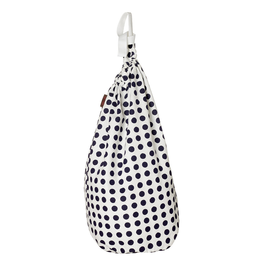 London Polka Dot Linen Laundry & Storage Bag in Dark Aubergine Purple