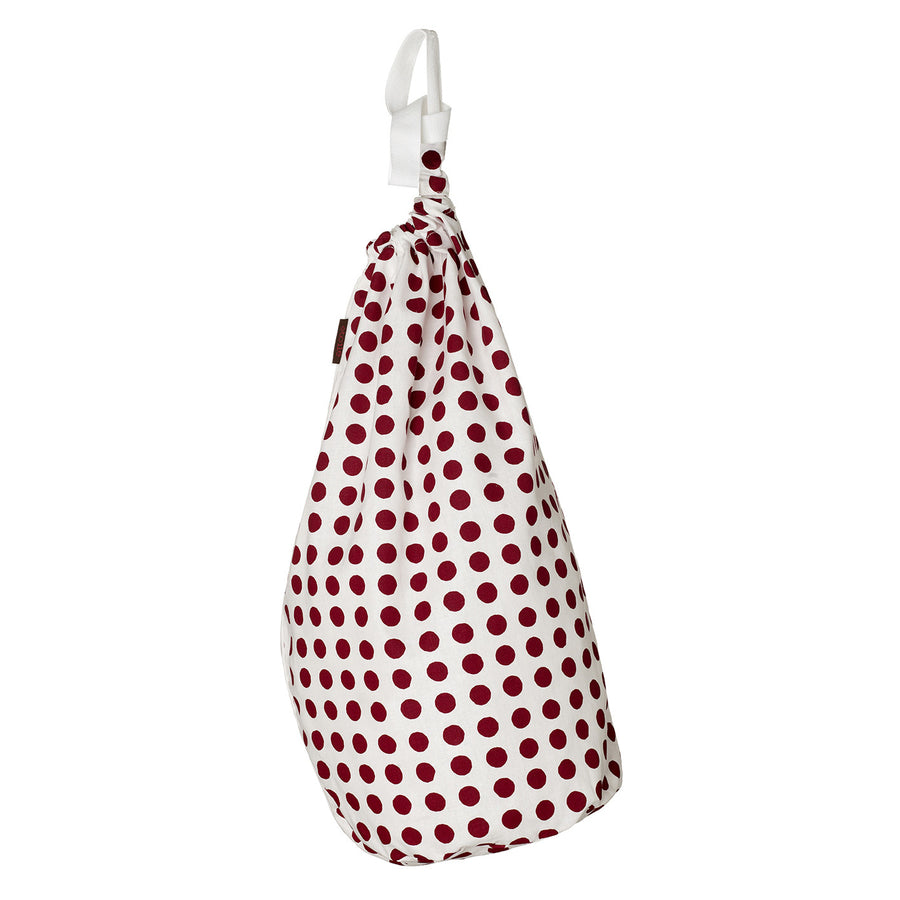 London Polka Dot Pattern Printed Drawstring Linen Laundry & Storage Bag in Dark Vermilion Red Ships from Canada (USA)