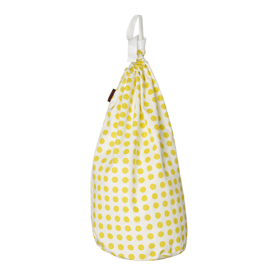 London Polka Dot Spotty Cotton Linen Drawstring Laundry and Storage Bag Bright Maize Yellow Ships from Canada (USA)