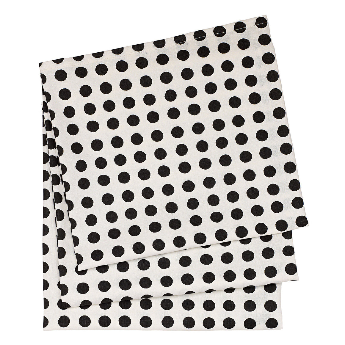 London Polka Dot Cotton Linen Tablecloth in Black