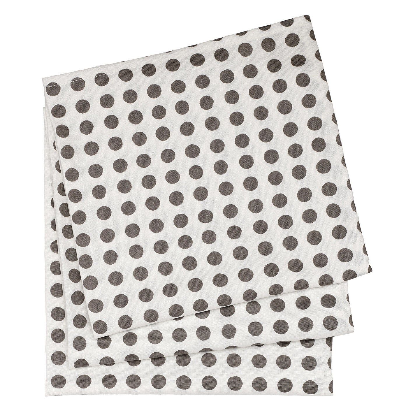 London Polka Dot Linen Cotton Tablecloth in Stone Grey