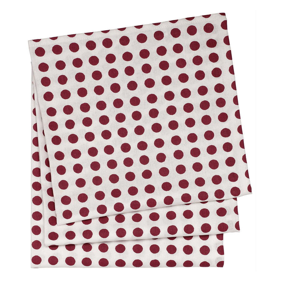 London Polka Dot Linen Tablecloth in Dark Vermilion Red