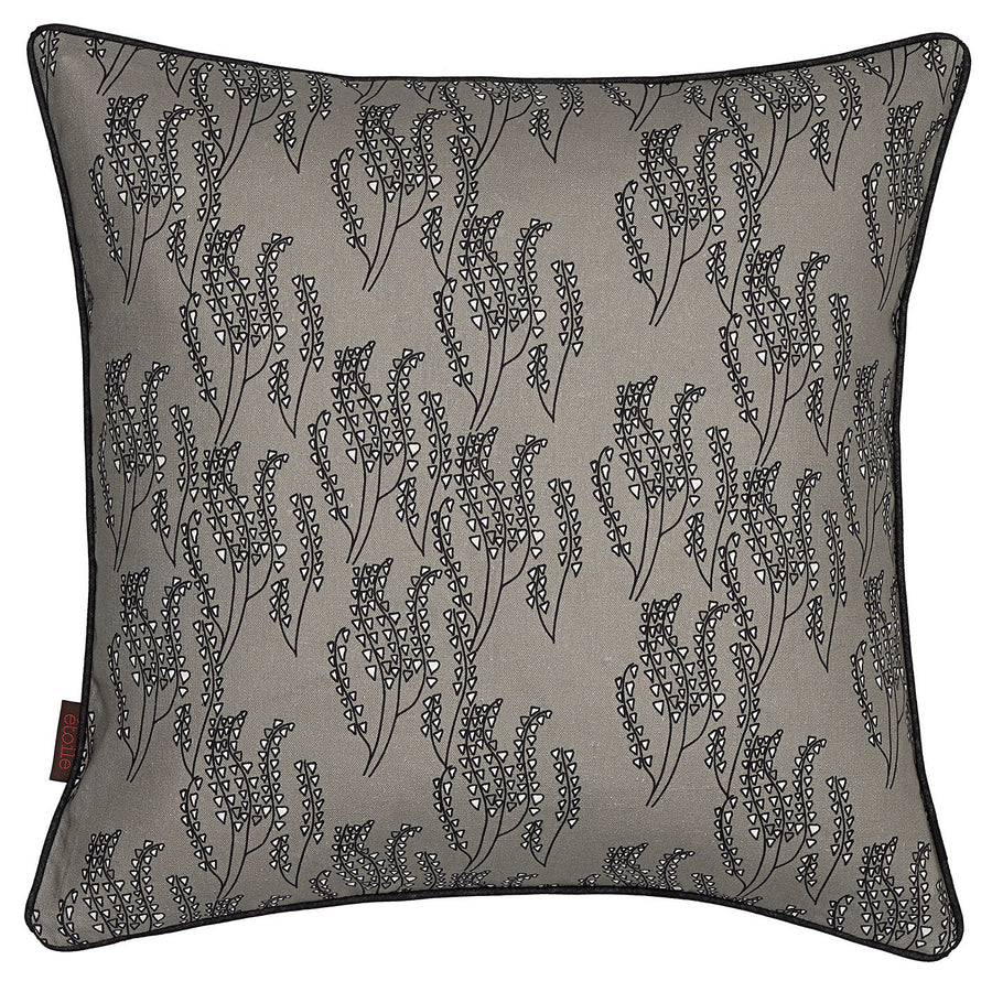 "Maricopa Floral Pattern Linen Cotton Decorative Throw Pillow in Dove Grey & Black 45x45cm (18x18"")"