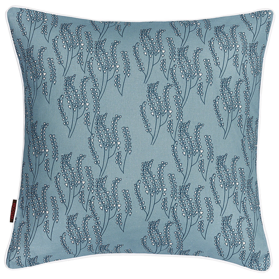"Maricopa Graphic Grass Pattern Linen Decorative Throw Pillow Light Chambray Blue 45x45cm (18x18"")"