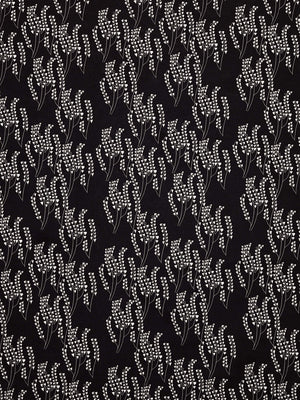 Maricopa Floral Pattern Linen Cotton Fabric - Black with grey