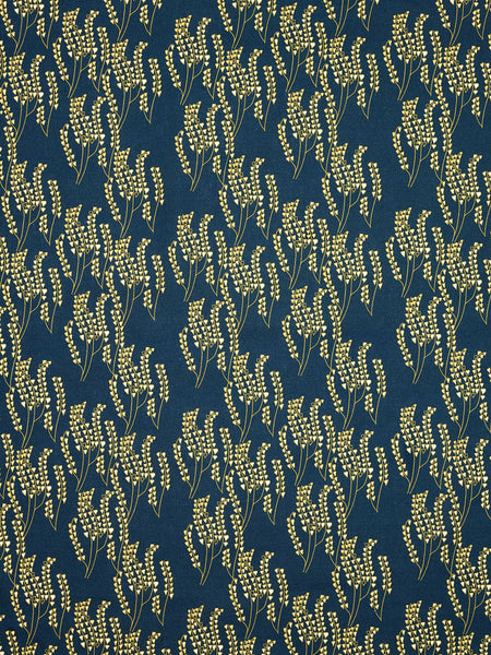 Maricopa Graphic Floral Pattern Cotton Linen Fabric in Dark Petrol Blue / Maize Yellow