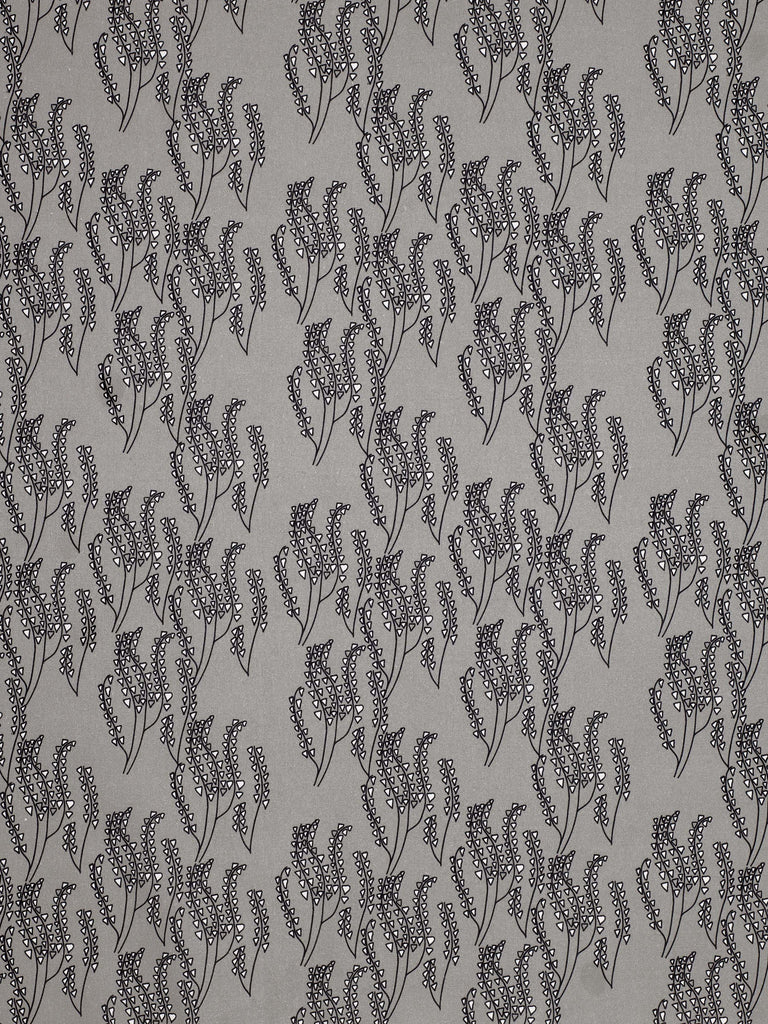 Maricopa Graphic Floral Pattern Cotton Linen Fabric in Light Dove Grey - Black