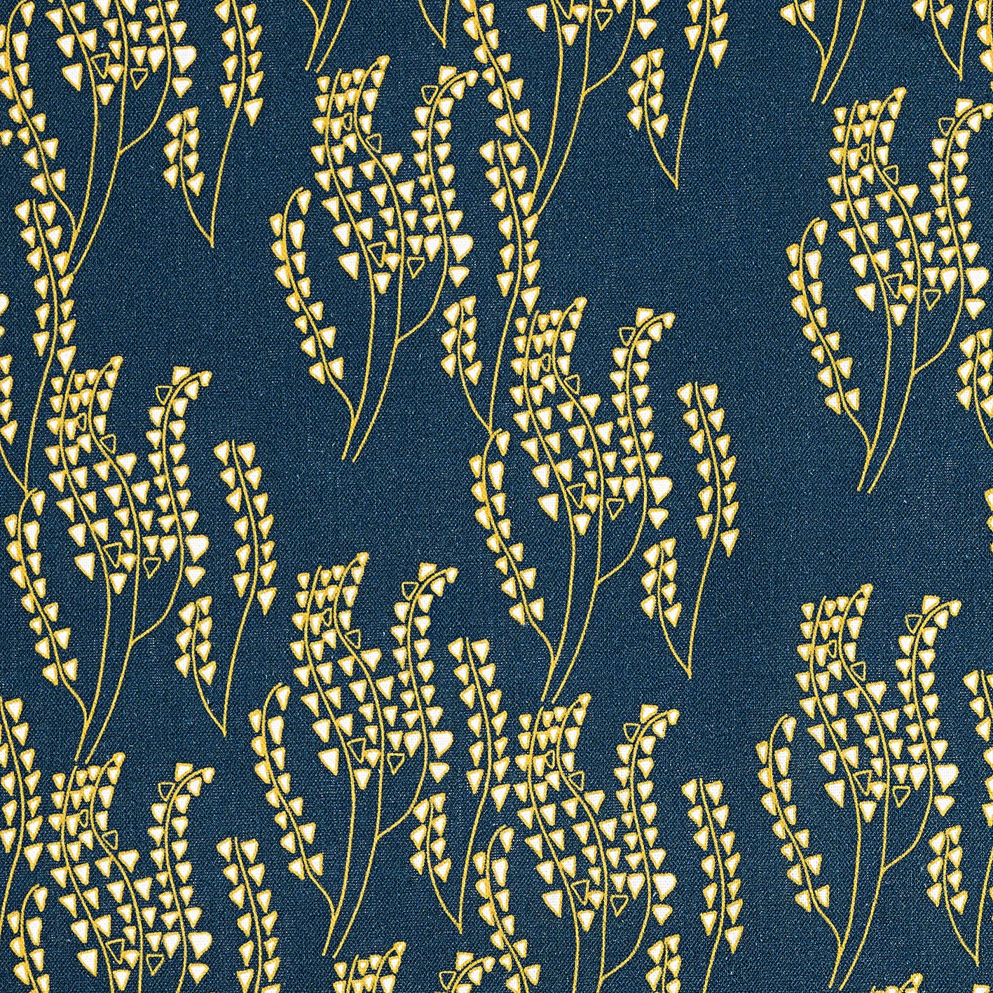 Maricopa Graphic Floral Pattern Cotton Linen Home Decor Fabric by the meter or by the yard for curtains, blinds or upholstery in Dark Petrol Blue / Maize Yellow ships from Canada worldwide (USA)