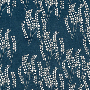 Maricopa Graphic Floral Pattern Cotton Linen Fabric in Dark Petrol Blue and Grey