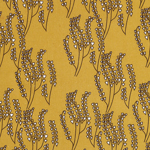Maricopa Graphic Floral Pattern Cotton Linen Home Decor Fabric by the yard or by the meter for curtains, blinds, upholstery in Gold with Chocolate Brown ships from Canada (USA)