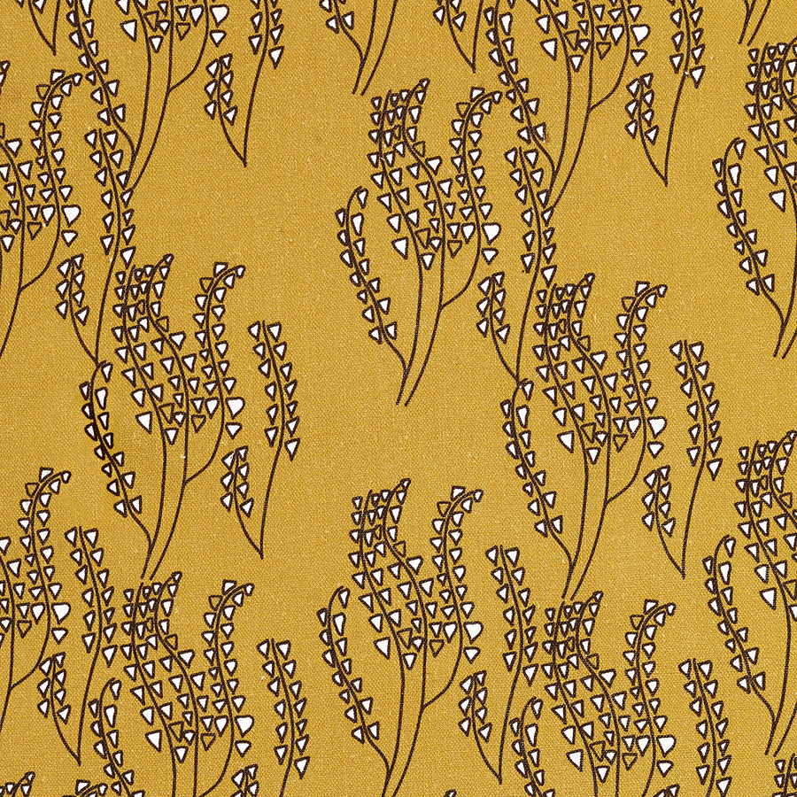 Maricopa Graphic Floral Pattern Cotton Linen Home Decor Fabric by the meter or by the yard for curtains, blinds, upholstery in Gold with Chocolate Brown ships from canada (USA)