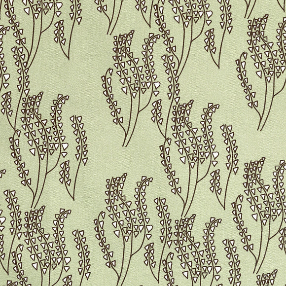 Maricopa Graphic Floral Pattern Cotton Linen Fabric in Light Eau de Nil Green and Grey