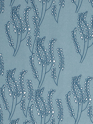 Maricopa Graphic Floral Pattern Cotton Linen Fabric Light Chambray Blue