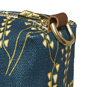 Maricopa Graphic Floral Pattern Canvas Wash Bag in Dark Petrol Blue / Maize Yellow
