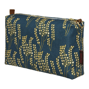 Maricopa Graphic Floral Pattern Canvas Toiletry Travel or Wash Bag in Dark Petrol Blue / Maize Yellow Perfect for all your cosmetics and beauty items while travelling Ships from Canada worldwide (USA)