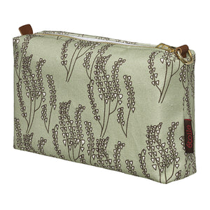 Maricopa Graphic Floral Pattern Canvas Wash Bag in Light Eau de Nil Green and Grey