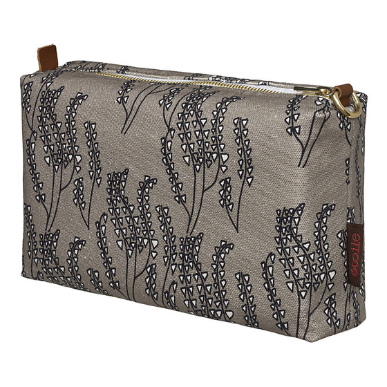 Maricopa Graphic Floral Pattern Canvas Wash Bag in Dove Grey & Black
