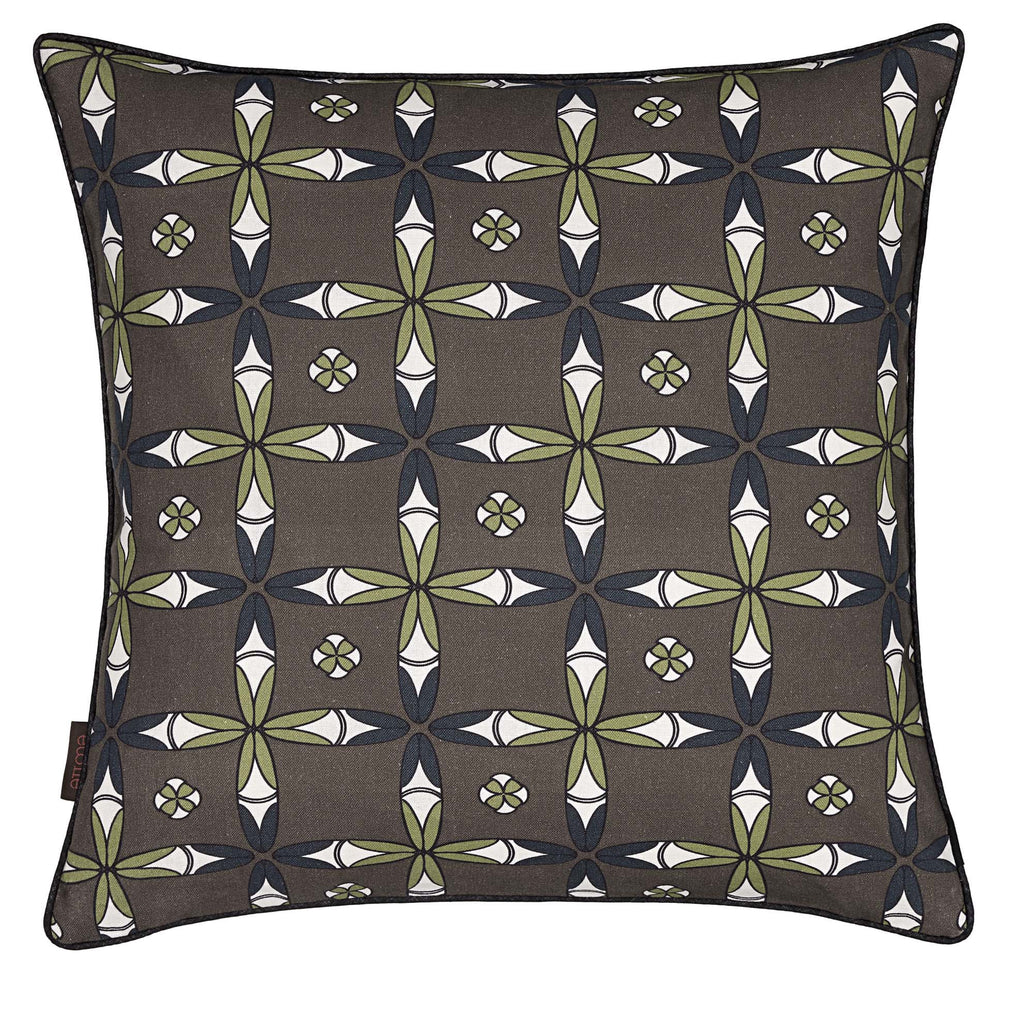 Navajo Ethnic Geometric Pattern Linen Cotton Cushion in Stone Grey 45x45cm