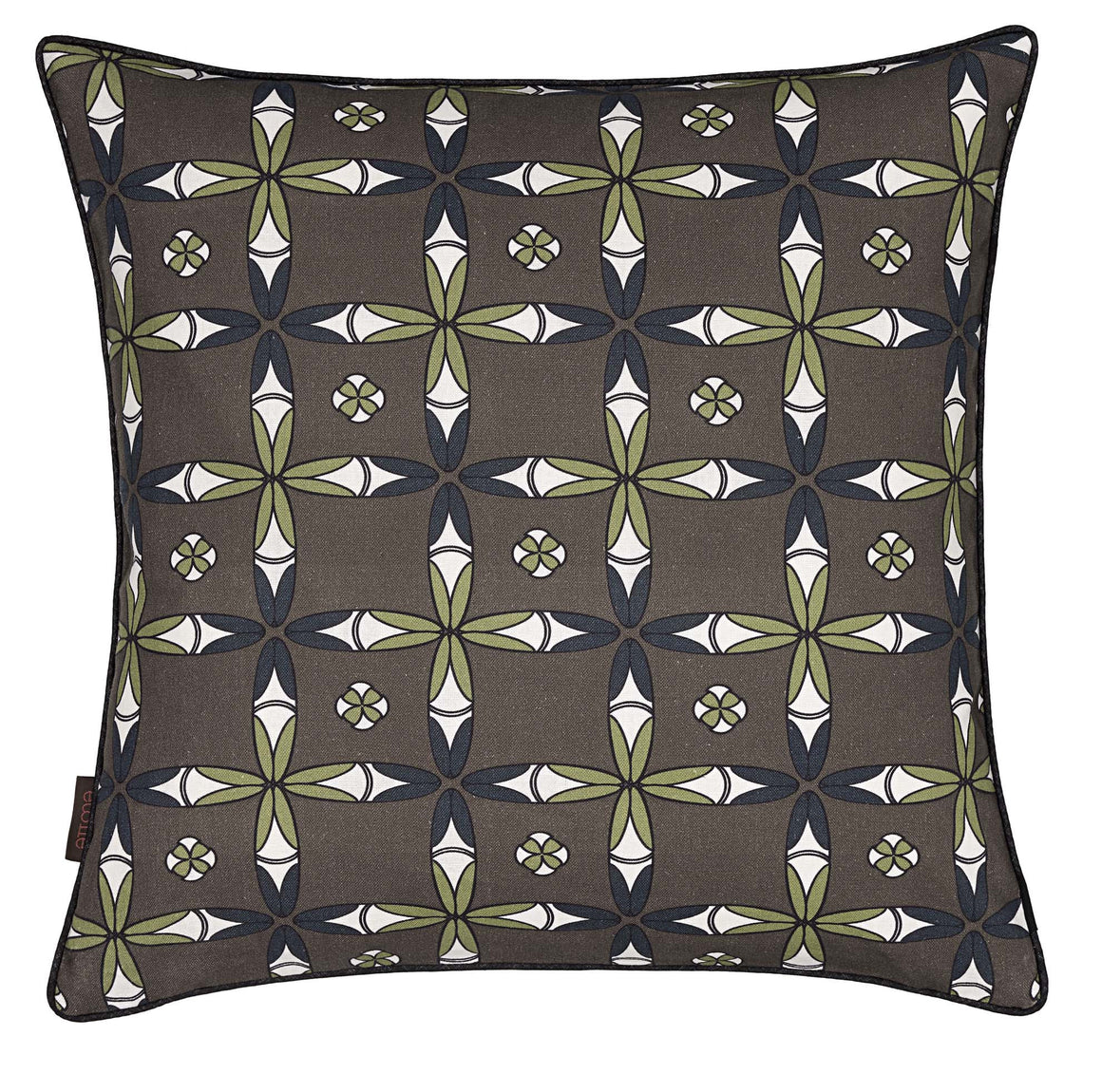 "Navajo Ethnic Geometric Pattern Linen Cotton Decorative Throw Pillow in Stone Grey 45x45cm (18x18"")"