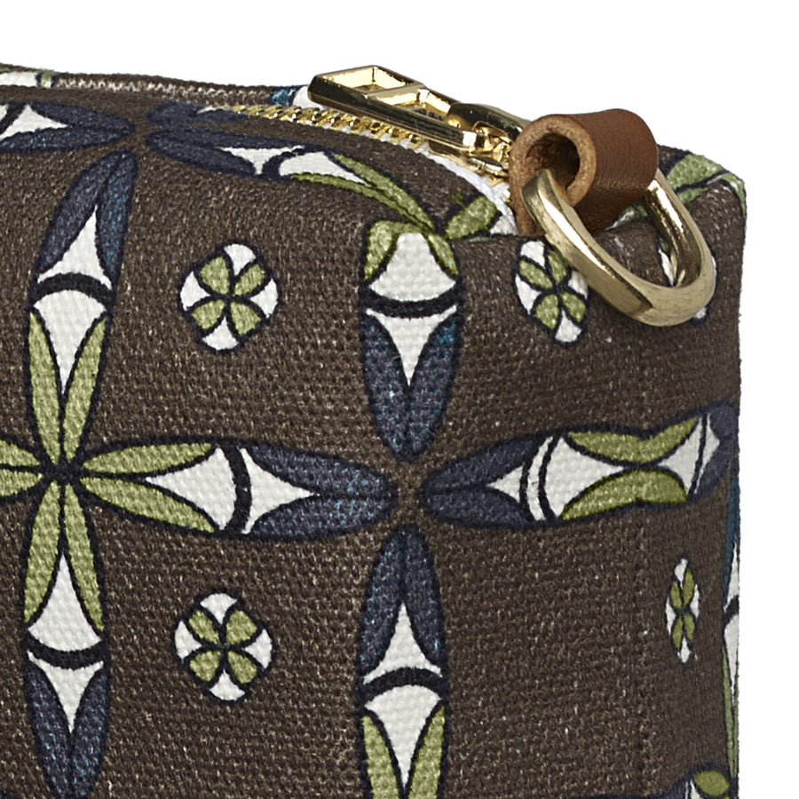 Navajo Ethnic Geometric Pattern Canvas Wash (toiletry) Bag - Stone Grey
