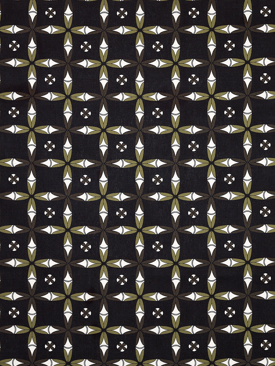 Navajo Ethnic Geometric Pattern Cotton Linen Fabric - Black