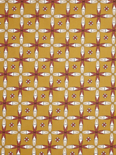 Navajo Ethnic Geometric Pattern Cotton Linen Fabric - Gold