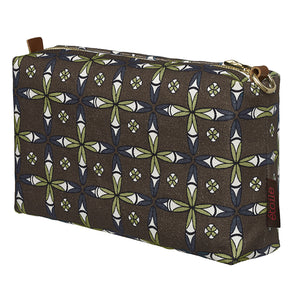 Navajo Ethnic Geometric Pattern Canvas Wash or toiletry travel Bag perfect for all your cosmetic and beauty needs while travelling - Stone Grey- Ships from canada (USA)