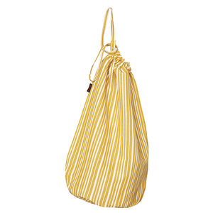 Palermo Ticking Stripe Cotton Linen Laundry Bag in Mustard Gold