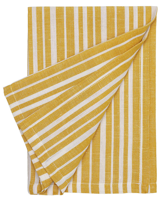Palermo Ticking Stripe Linen Napkin Mustard Gold