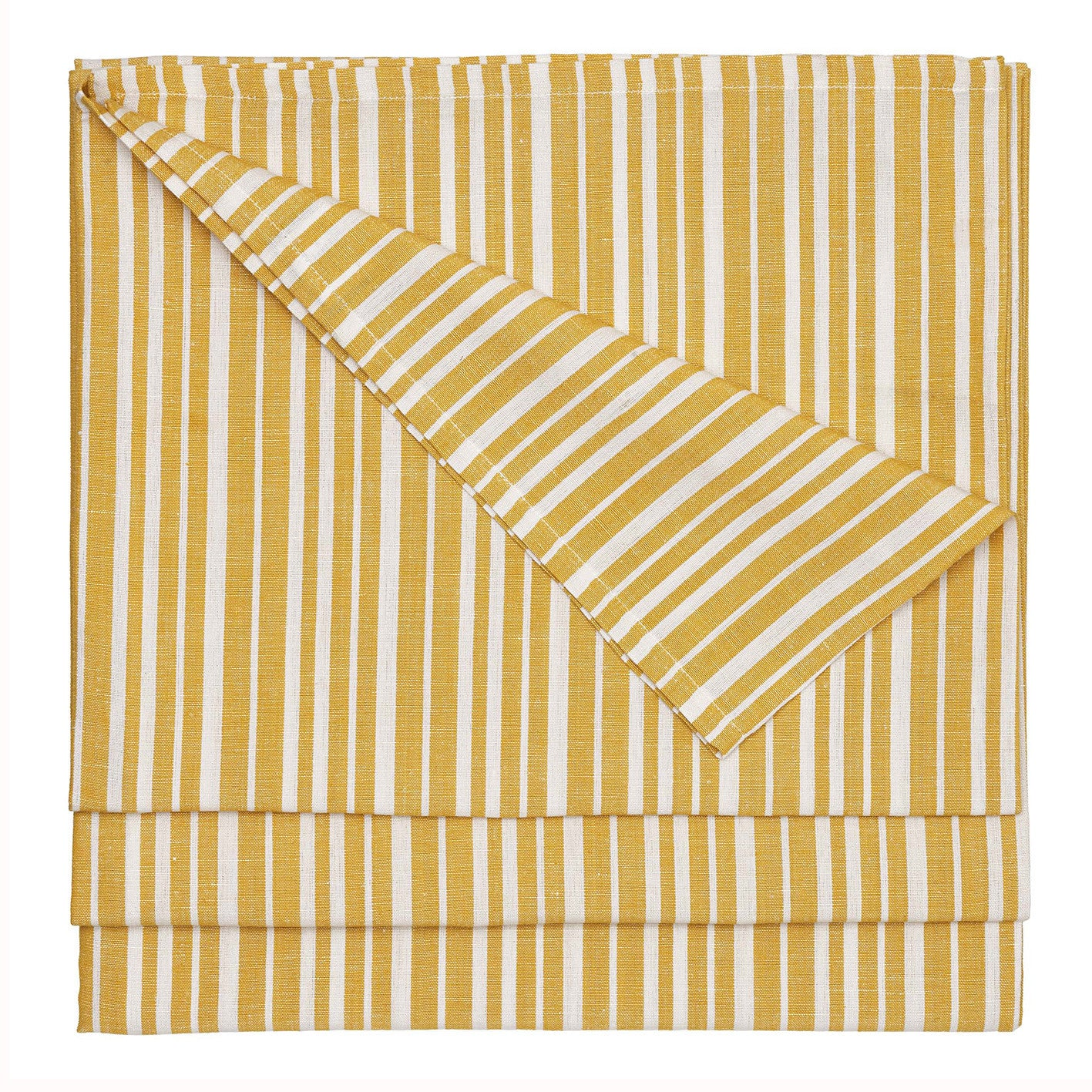 Palermo Ticking Stripe Cotton Linen Tablecloth in Mustard Gold Ships from Canada (USA)
