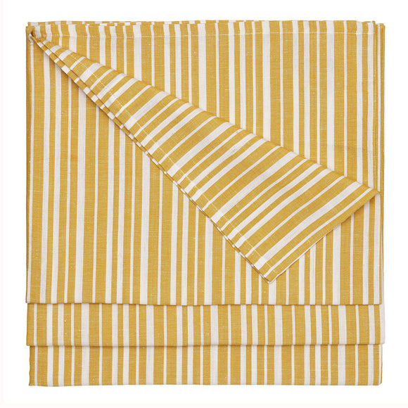 Palermo Ticking Stripe Cotton Linen Tablecloth in Mustard Gold