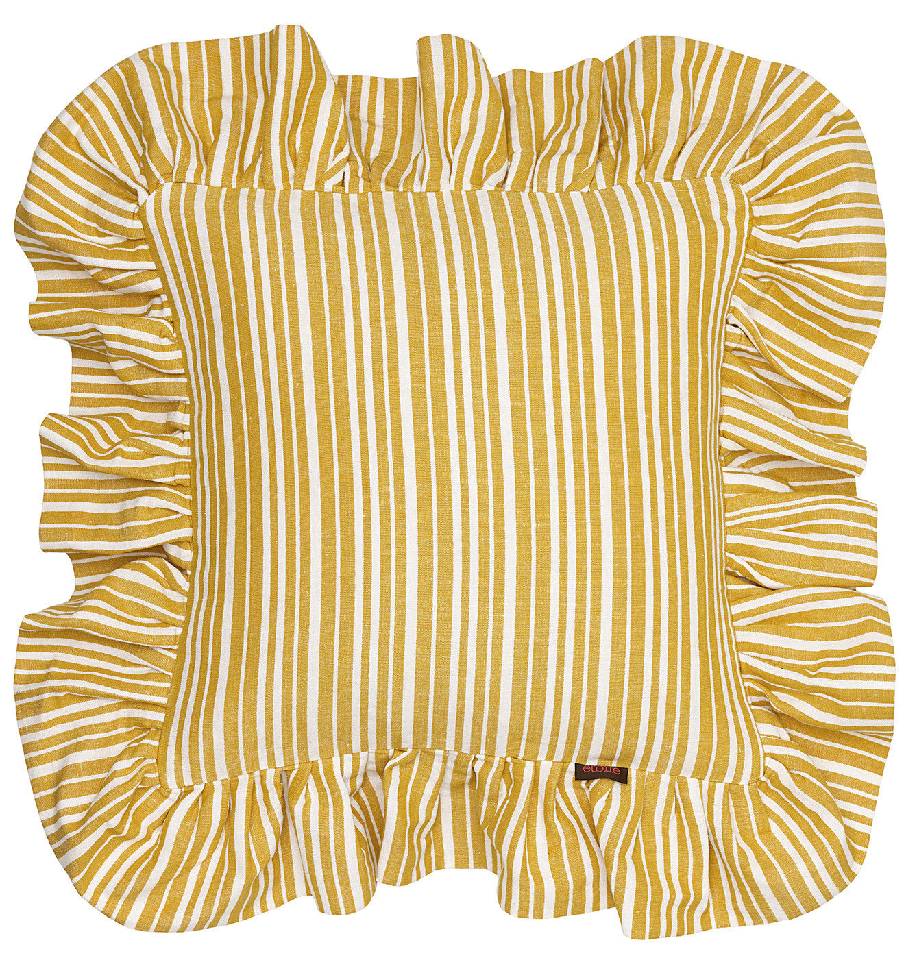 Palermo Ticking Stripe Ruffle Decorative Throw Pillow in Mustard Gold 45x45cm 18x18""