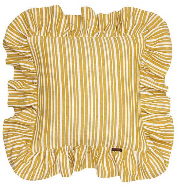 Palermo Ticking Stripe Ruffle Cushion in Mustard Gold 45x45cm