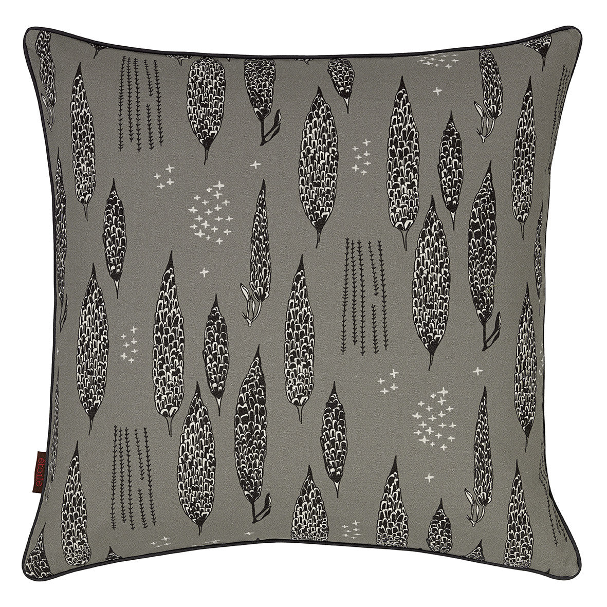 Graphic Tree Floral Pattern Linen Union Printed Cushion in Light Dove Grey Black