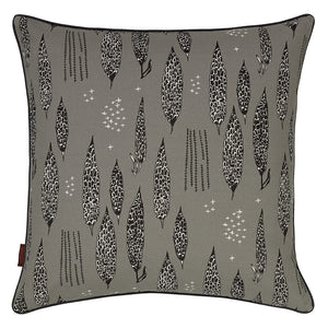 "Graphic Tree Floral Pattern Linen Union Printed Decorative Throw Pillow in Light Dove Grey Black 22x22"" 55x55cm"