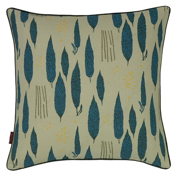 Graphic Tree Floral Pattern Linen Union Printed Cushion in Light Eau de Nil Green