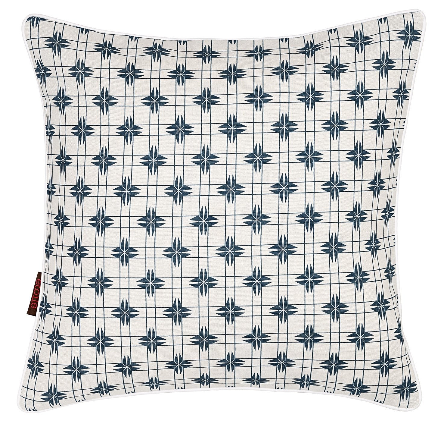 Pueblo Geometric Pattern Linen Cotton Cushion in Dark Petrol Blue