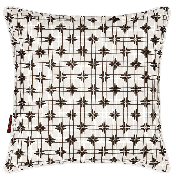 Pueblo Geometric Pattern Linen Cotton Cushion in Stone Grey