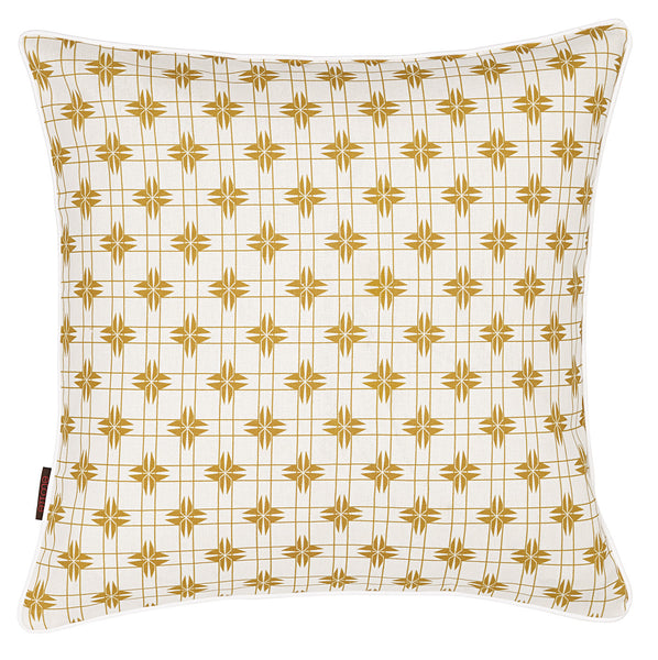 Pueblo Geometric Pattern Linen Cushion in Mustard Gold