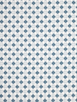 Pueblo Geometric Pattern Cotton Linen Fabric - Petrol Blue