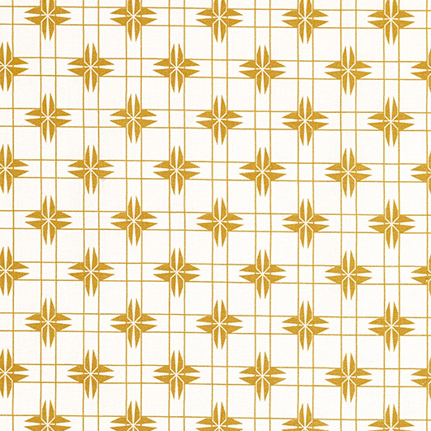 Pueblo Geometric Pattern Cotton Linen Fabric - Gold