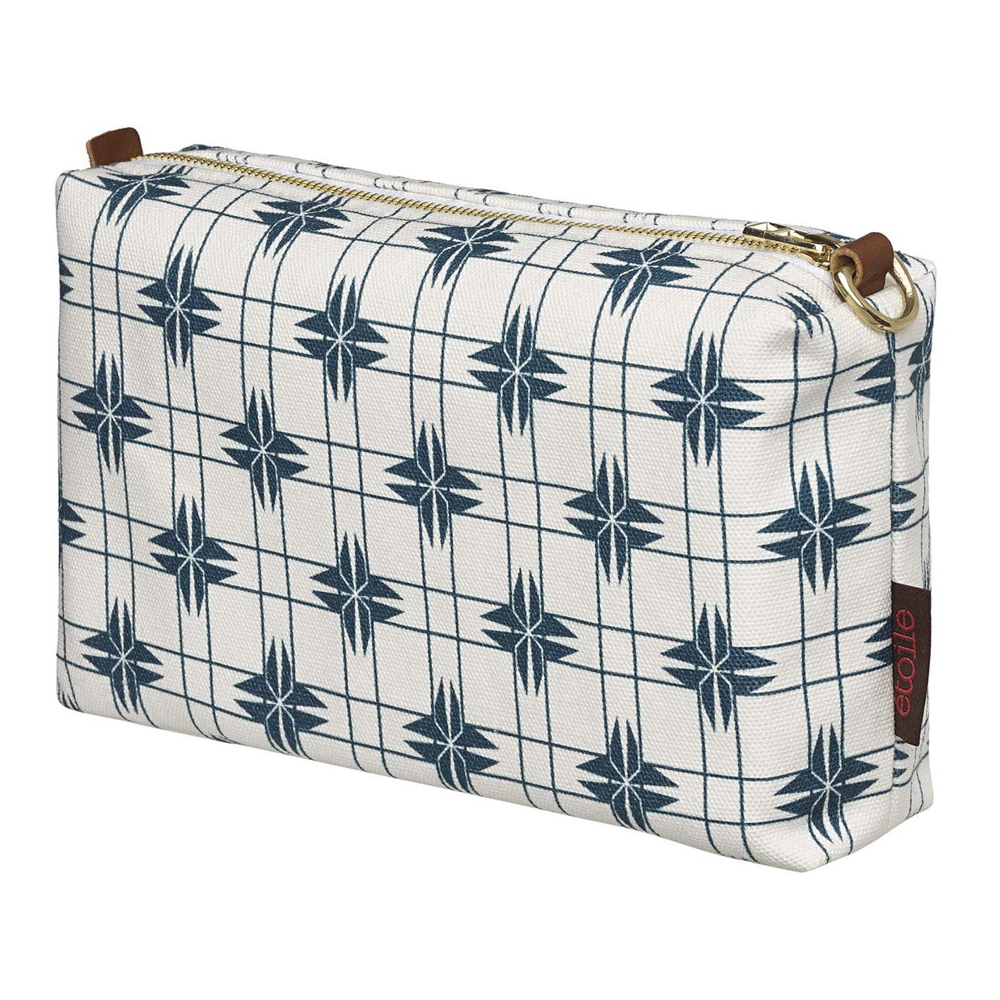 Pueblo Geometric Pattern Canvas Wash or toiletry travel Bag in Dark Petrol Blue Perfect for all your cosmetic and beauty needs while travelling Ships from Canada (USA)