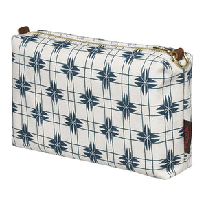 Pueblo Geometric Pattern Canvas Wash (toiletry) Bag in Dark Petrol Blue