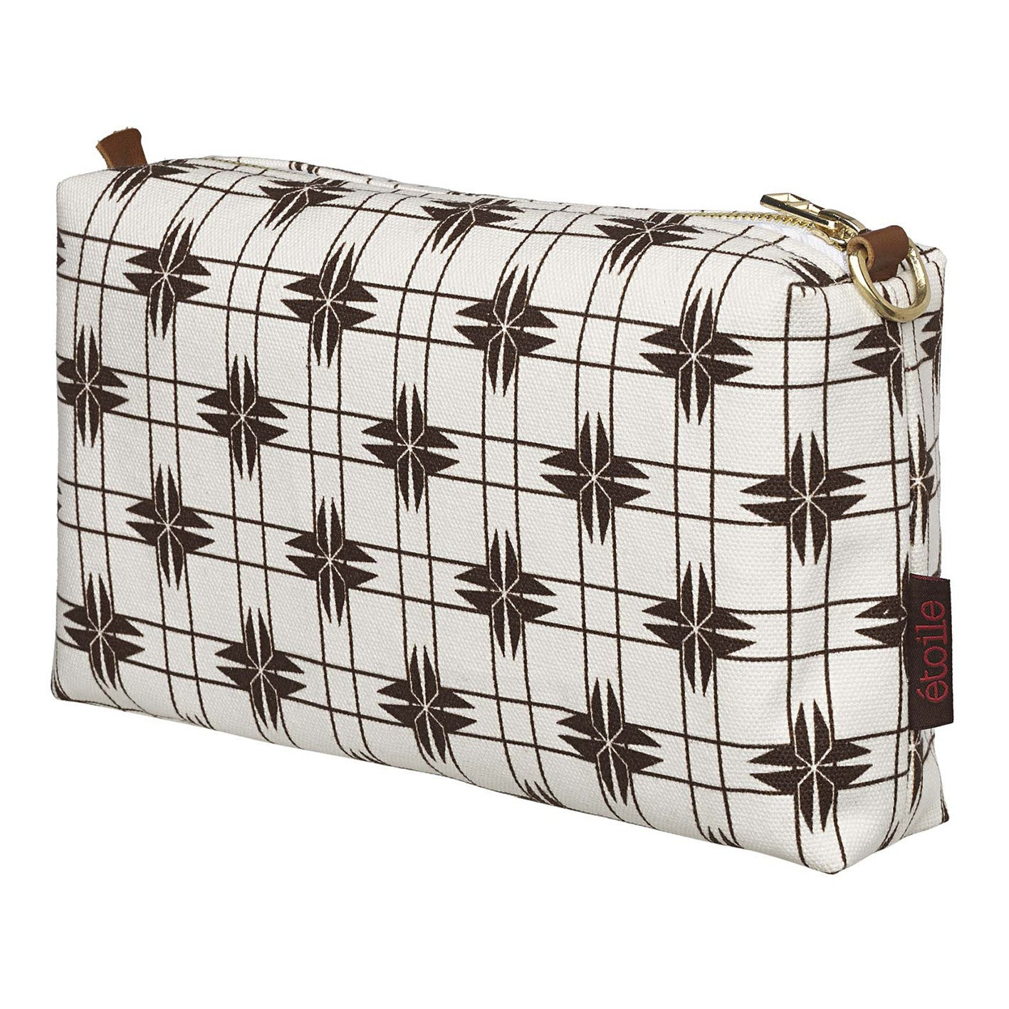 Pueblo Geometric Pattern Canvas Wash or toiletry travel Bag - Chocolate Brown - Perfect for all your cosmetic or beauty needs while travelling Ships from Canada (USA)